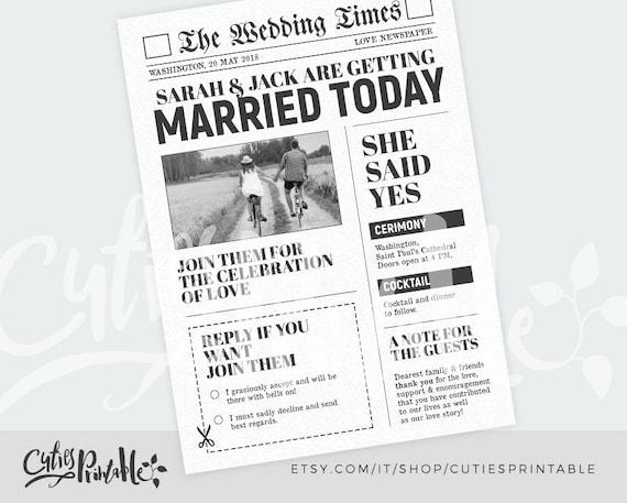 Newspaper Wedding Invitations: Newspaper Wedding Invitation News Wedding RSVP DIY Wedding