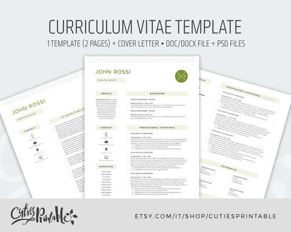 clear resume template cv template 2 pages cover letter etsy