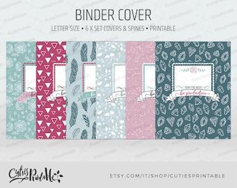 Binder cover printable 6x set Covers & Spines • Binder insert • Planner cover • Teacher binder • School binder inserts