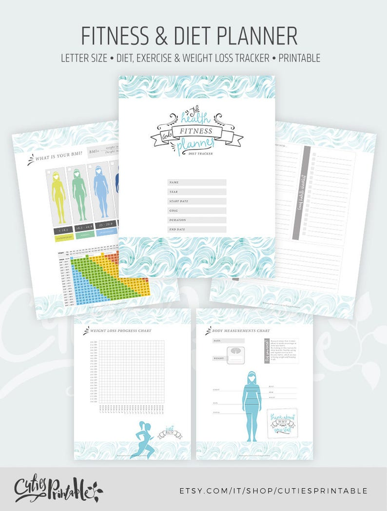 photograph relating to Printable Fitness Planner named Printable Physical fitness Planner - Diet regime, Physical fitness Fat Reduction Tracker - Exercise and Exercise Function Magazine - Fast Obtain PDF