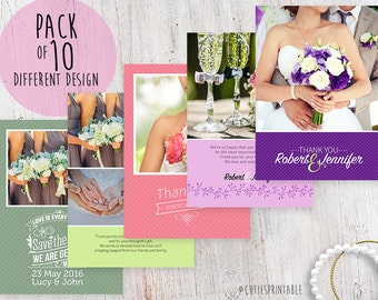 Wedding Thank You Card - Photoshop template - INSTANT DOWNLOAD