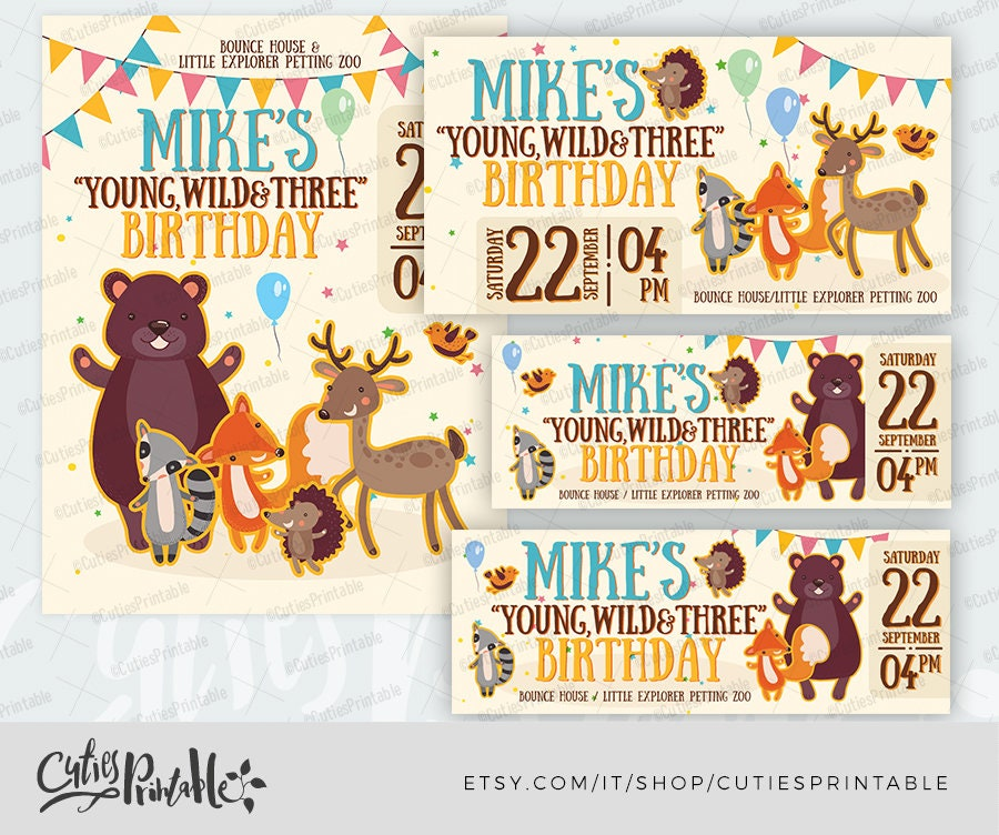Birthday Baby Invitation Template • Party flyer • Facebook cover, event,  post image • Wild Forest Animal • Raccoon Bear Deer Fox Hedgehog