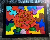 RED ROSE STAINED Glass Pa...