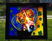 Abstract Dog Stained Glas...