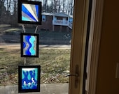 3 Panel abstract blue sta...