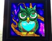 NIGHT OWL~sun catcher, co...