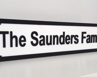 Street Sign - Family Sign - Personalised Gift - Family Gift - Name Sign - Personalised Street Sign - New Home - Wedding Gift - Monochrome