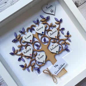 - Family Gift 10-15 name hearts Personalised LARGE sized Family Tree Frame Bespoke For You Ancestry Customised Frame