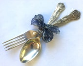 Vintage - KINGS Pattern - William Adams - EPSN A1 - Large Spoon Fork - Sheffield - England - Salad Servers - Old World Elegance
