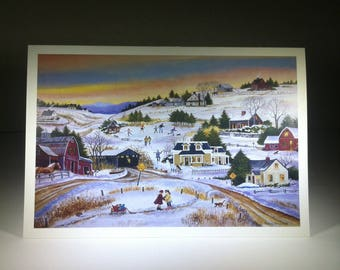 Tis the Season - Winter Scene - Blank Card - Countryside in the Winter