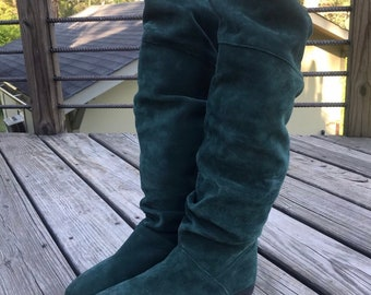 347279502 Vintage slouchy green knee high boots