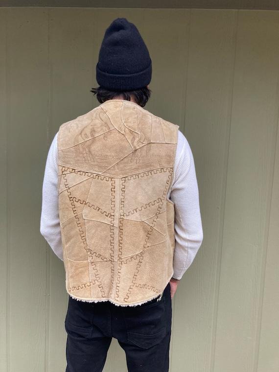 Vintage Brown Suede Western wool lined vest with h