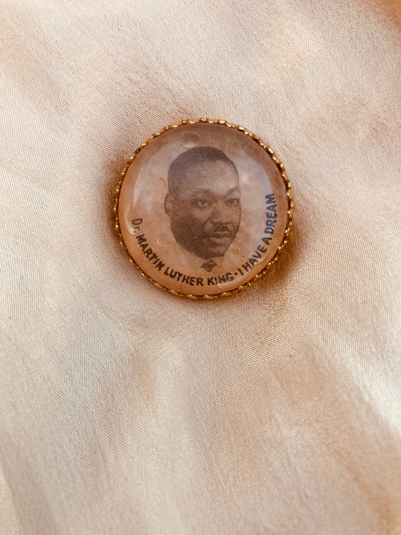 Vintage Martin Luther King Pendant. Gold And Lucit