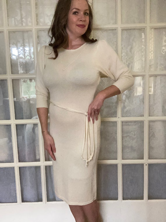 Vintage 1970's Cream Cashin Country knit dress By
