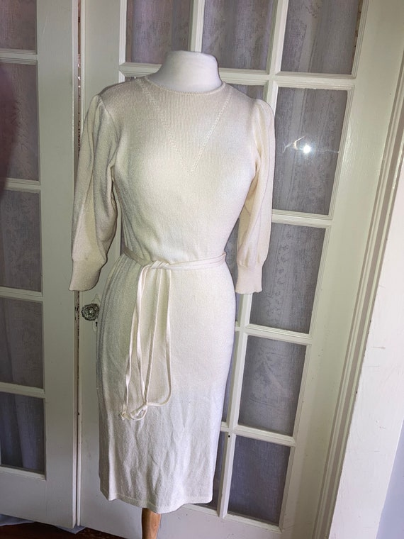 Vintage 1970's Cream Cashin Country knit dress By… - image 3