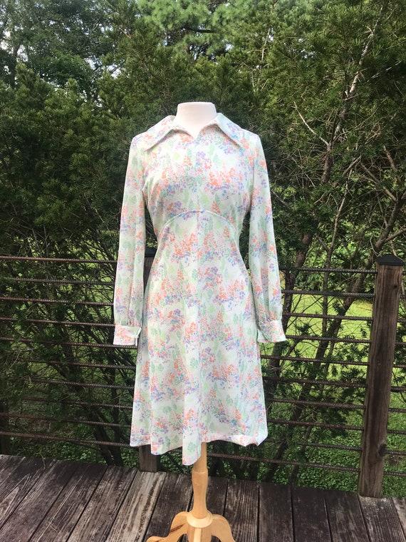 Vintage 70's Floral handmade long sleeved dress