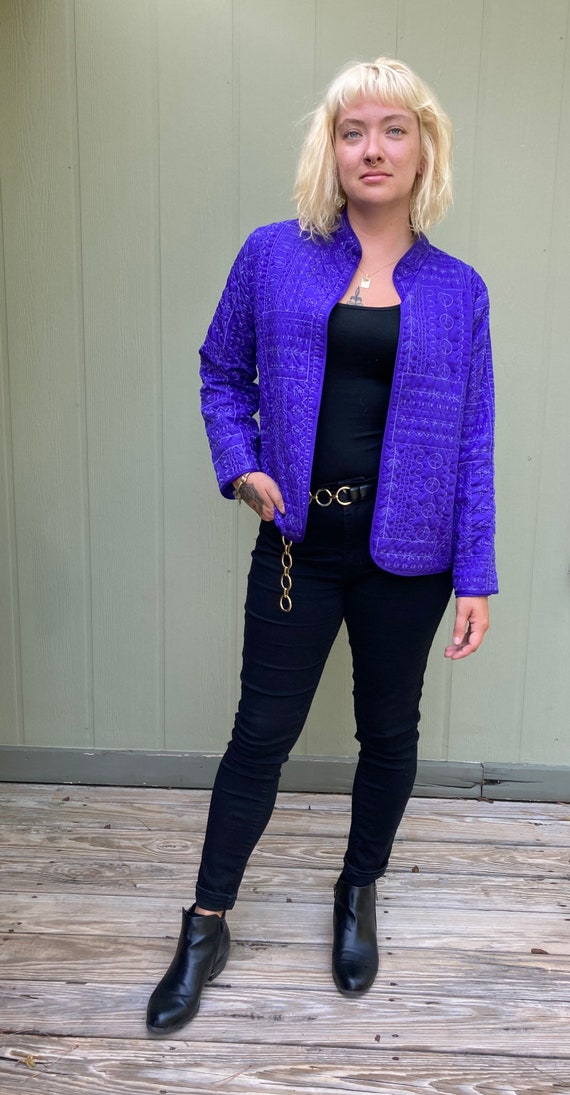 Vintage Purple Quilted Embroidered Jacket