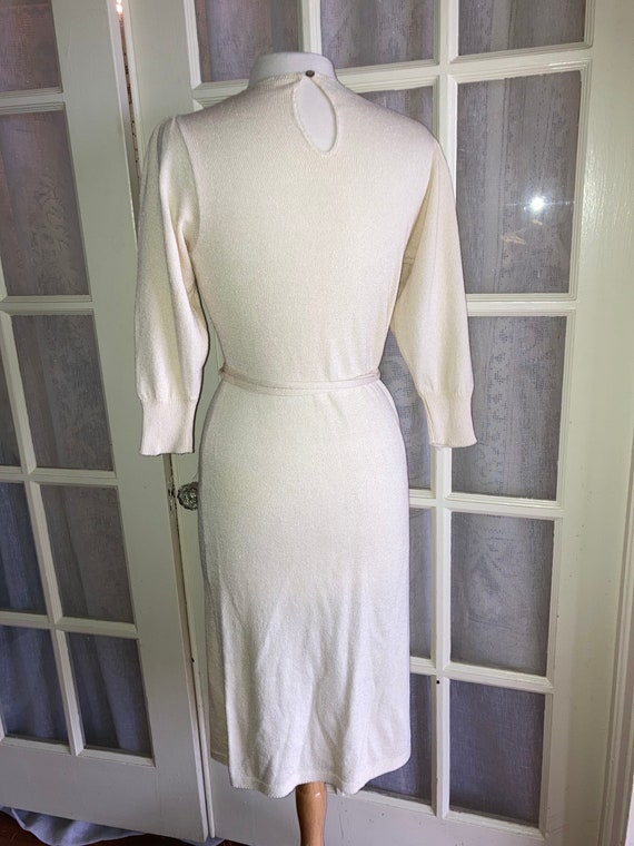 Vintage 1970's Cream Cashin Country knit dress By… - image 4