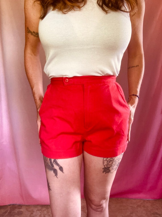 """Vintage 70s Red cotton Shorts size 28"""""""