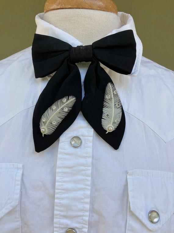 Vintage 1950's Black silky ladies fancy long bow t