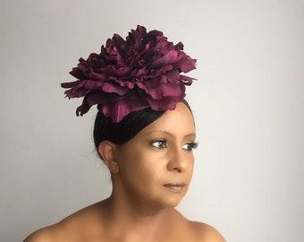 Mitsy Fascinator, Burgundy Fascinator, Red fascinator, Fascinator, Flower fascinator, wedding hat