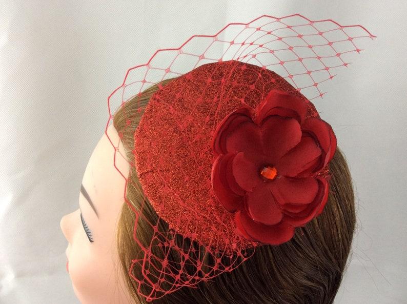 e11410baf2b36 Red fascinator Red veil fascinator Red mini Hat Red glitter