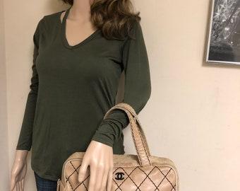 47a400ae176ac1 CHANEL CC Beige Calf Skin Leather Wild Stitch CC Handbag Vintage