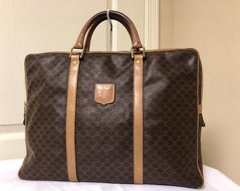 4ea6c4ba354f CELINE Macadam PVC Canvas VINTAGE Leather Browns Briefcase Handbag