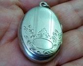 Vintage Oval Locket Sterling Silver, Monogram Ready, Floral Etched, Signed B Co