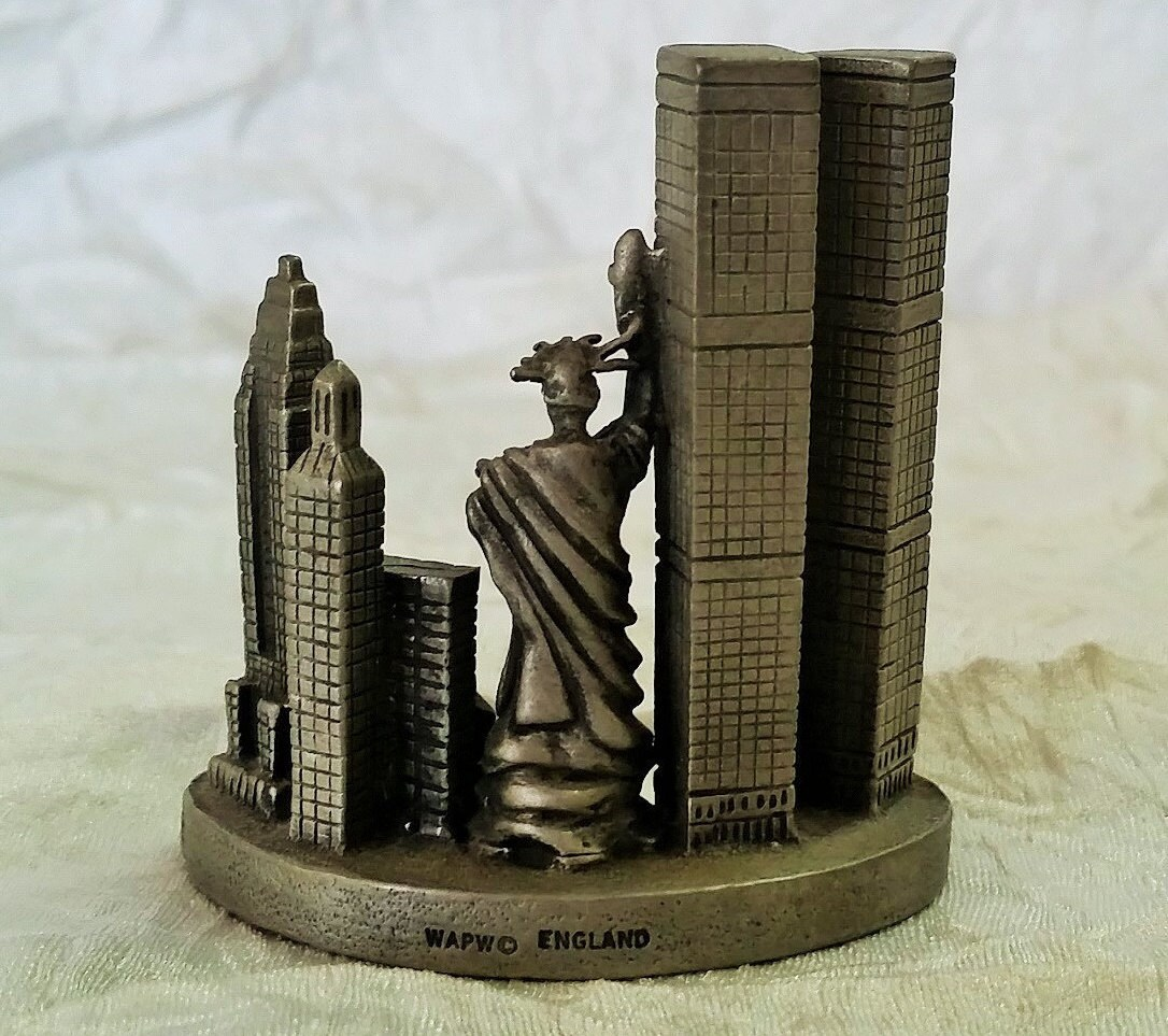 Birmingham Building Trade Towers Birmingham: Vintage Pewter Figurine New York City Souvenir WTC Twin Towers