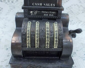 Clearance price - Miniature National Cash Register, Opening Cash Drawer, Moving Lever, Die Cast Metal, Pencil Sharpener, Hong Kong