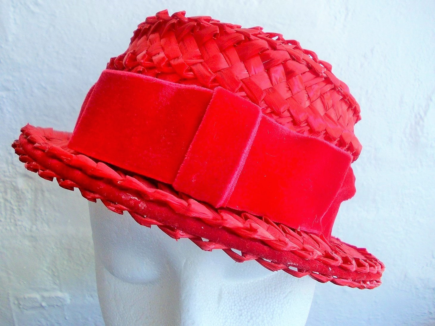Ladies Red Straw Hat 347fff5c53f