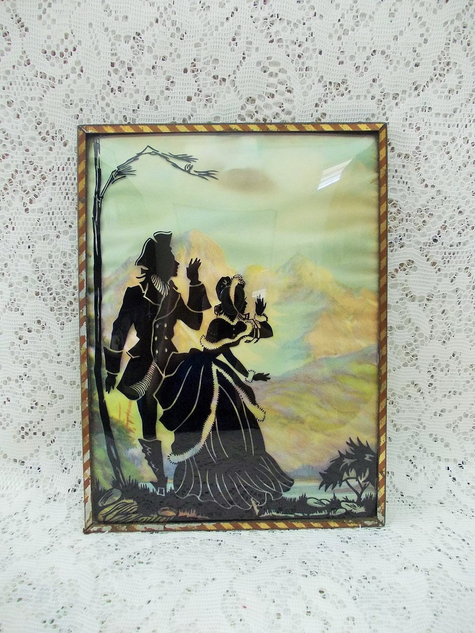 Other Antique Decorative Arts Convex Glass Reverse Painted Vintage Silhouette Framed Picture Antiques
