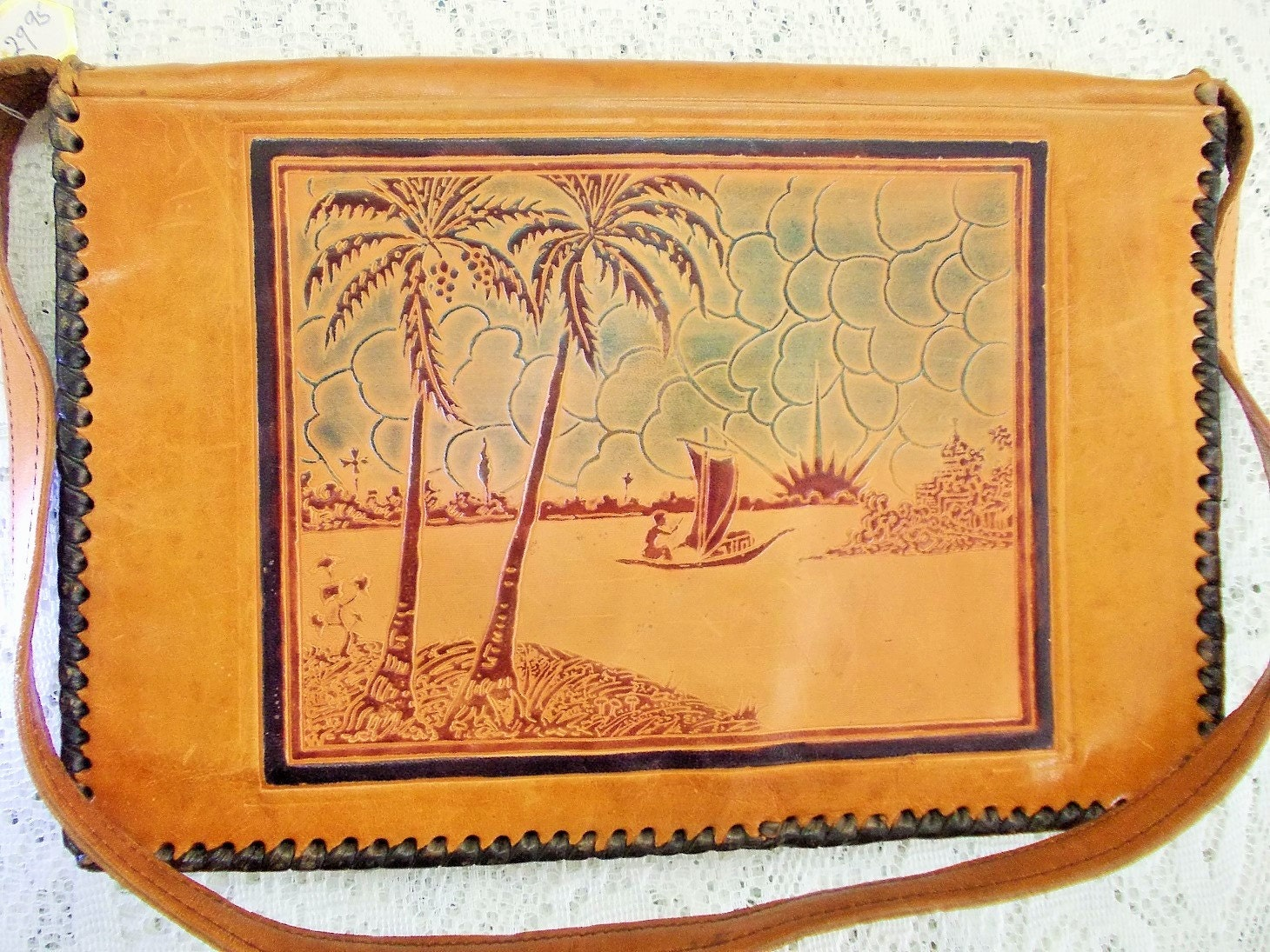 6520cb6e58 Vintage envelope handbag hand tooled painted leather indian images taj  mahal etc jpg 1460x1095 Vintage egyptian
