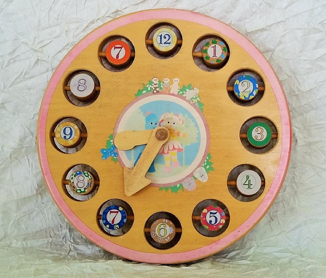 Vintage Wooden Clock, Child's Educational Toy, Learn to ...
