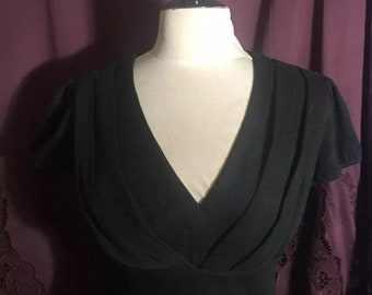 a0fadf56c18c Rare BETSEY JOHNSON Vintage Wool Black Fit   Flare Cup Of Coffee DRESS Size  10 L