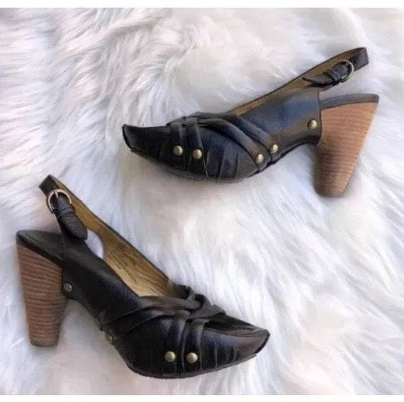 Vintage FRYE Black leather Stud Slingbacks sandals