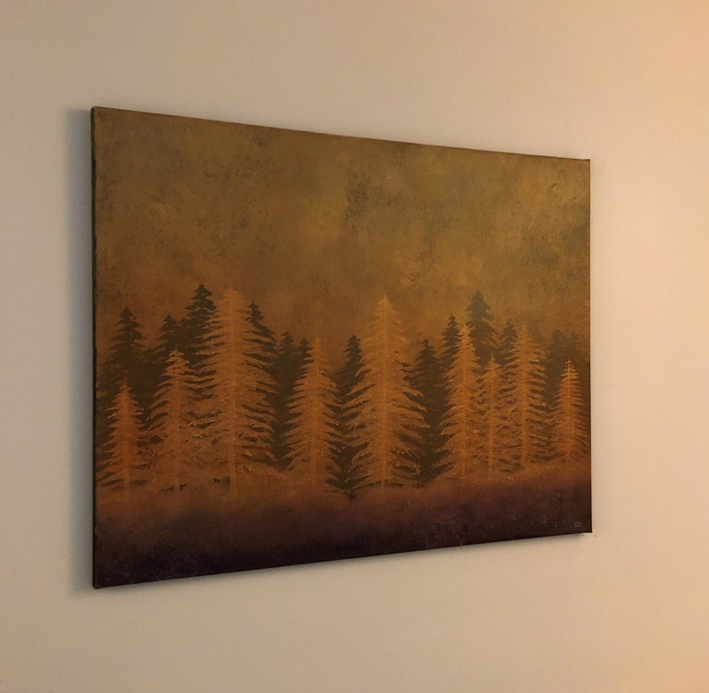 Abstract Painting Fantasy Forest Wall Art Gesso and Oil on Heavy Duty Canvas 22 x 28 Original Art November Gone