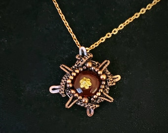 Black Crystal and Lava Stone Bead Essential oil Carrier necklace wire wrapped compass rose and lava two layered necklace.