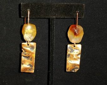 Honey Opal Hammered Copper Earrings-Long Stone Dangle Earrings-Copper Jewelry-Tribal Earrings-Ethnic Earrings-Gypsy Jewelry-Summer Jewelry