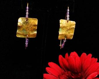 Amethyst Lilac Hoop Boho Earrings-Dangle Earrings-Gemstone Earrings-Copper Long Hoop Earrings-Gypsy Jewelry-Summer Jewelry-Gift for Her