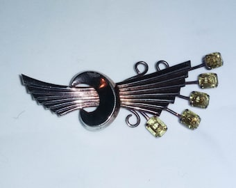 Vintage Art Deco Brooch Sterling with goldwash