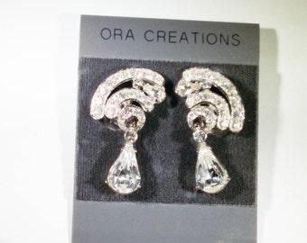 Pair of ORA Creation Rhinestone Earrings