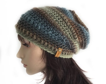 Blue and Brown Slouchy Beanie Womens Wool Crochet Hat