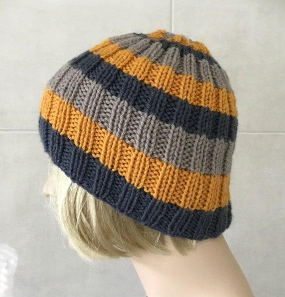 7a5a8d7bf08 Mens Striped Wool Beanie Grey Mustard Hat Hand Knit Wool
