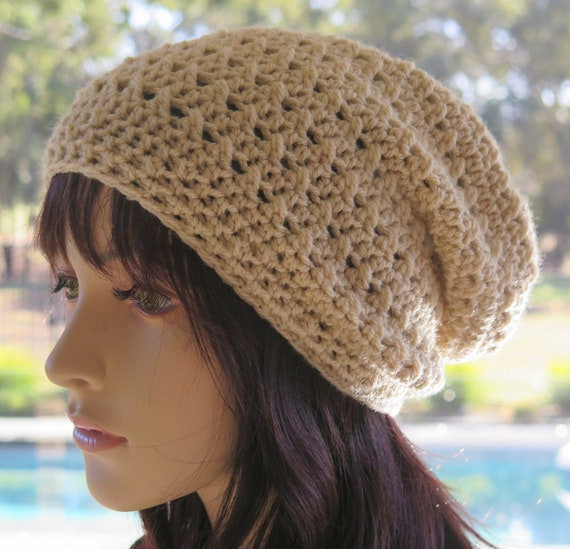 Beige Cream Slouchy Hat Womens Slouch Beanie Woman Slouchy  c49b66a5c20