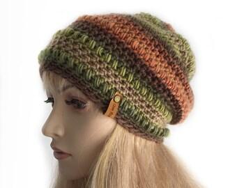 Womens Crochet Slouchy Beanie Hat, Green and Brown Warm Beanie,
