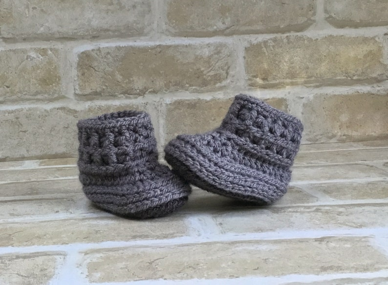 0513218f226a9 Unisex Crochet Baby Booties, Grey Knit Booties, Newborn Baby Shoes, Baby  Shower Gift, 0-3 , 3-6 months