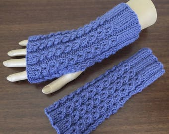 Cable Fingerless Gloves, Knit Wool Gloves, Texting Gloves, Fingerless Mitts, Arm Warmers