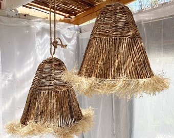 Organic Banana Bark w/ Raffia Fringe Pendant Lamp Light